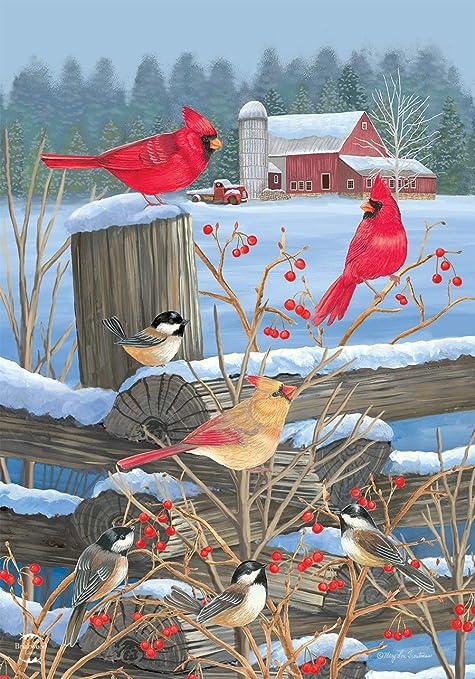 "Birds of Winter Cardinals House Flag Snowy Fencepost 28/"" x 40/"" Briarwood Lane"