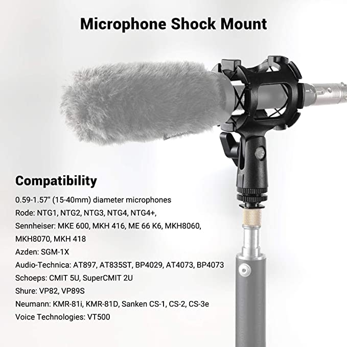 """Sennheiser Gimbals DSLR with a Cold Shoe MOVO and Other mics with 0.4-1/"""" Tube Diameter fits Smartphone Rigs DREAMGRIP Anti-Shock Suspended Video Microphone Mount Holder for RODE Stabilizers"""