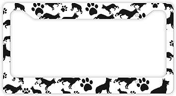 PAW Screw Caps MY CHIHUAHUA Pet Dog Black Metal License Plate Frame I LOVE