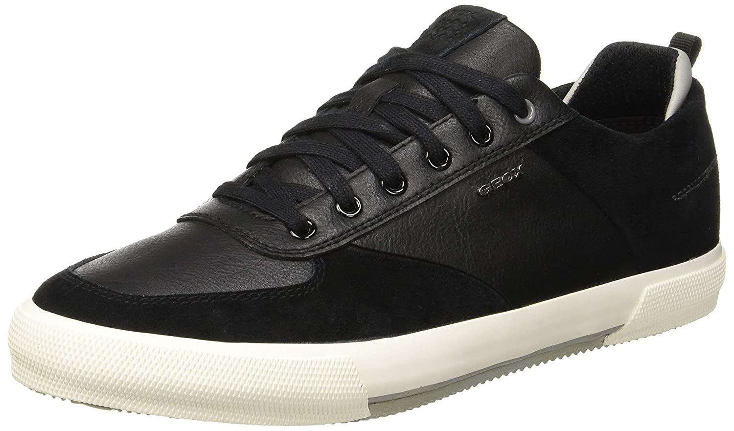 Geox Mens Waxed Leather Kaven Trainers Black