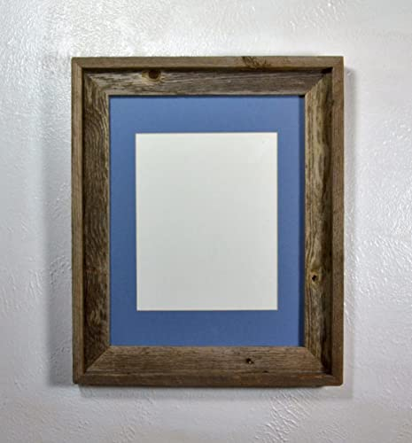 Amazon.com: Rustic Recycled Wood Picture Frame 8x10 Light Blue Mat ...