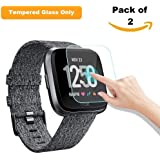 iloft High Definition Ultra Clear, Waterproof, 9H Hardness, Crystal, Scratch Resist, No-Bubble Tempered Glass for Fit bit Versa Smartwatch
