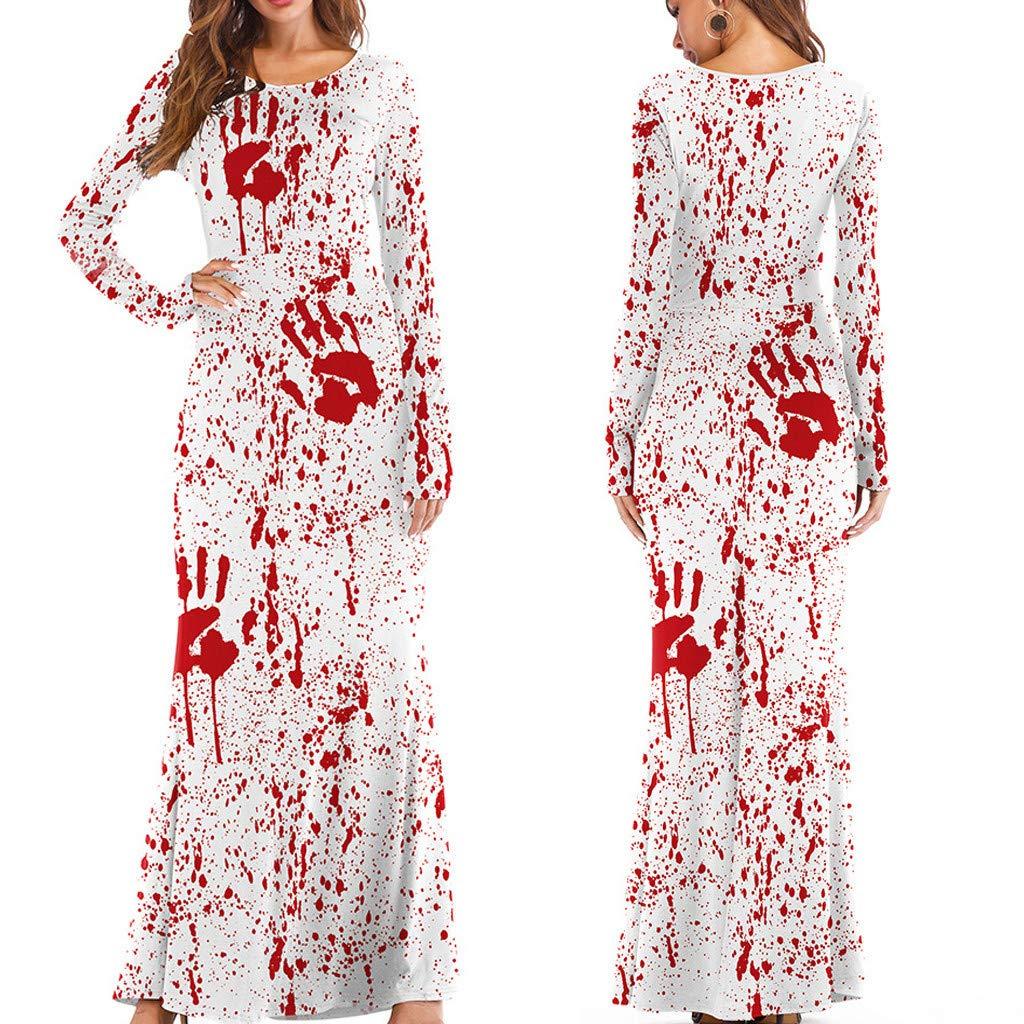 charmsamx Womens Halloween Maxi Dresses Long Sleeve Loose Plain Casual Long Dresses O Neck Crewneck Pumpkin Tank Long Dress for Halloween Party White, L/XL by charmsamx