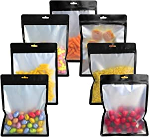 100 Pieces Mylar Ziplock Bags Smell Proof Resealable Bag for Food Storage, Multipurpose Foil Packaging Pouch Bag Reusable (Black Bags with Clear Window, 7.8