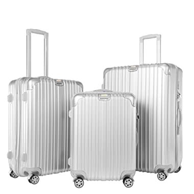 Timoo Luggage 3 Piece Set Light Weight Anti-Scratch ABS+PC Suitcase Set with Spinner Wheels TSA Lock, 20  24  28 , Silver