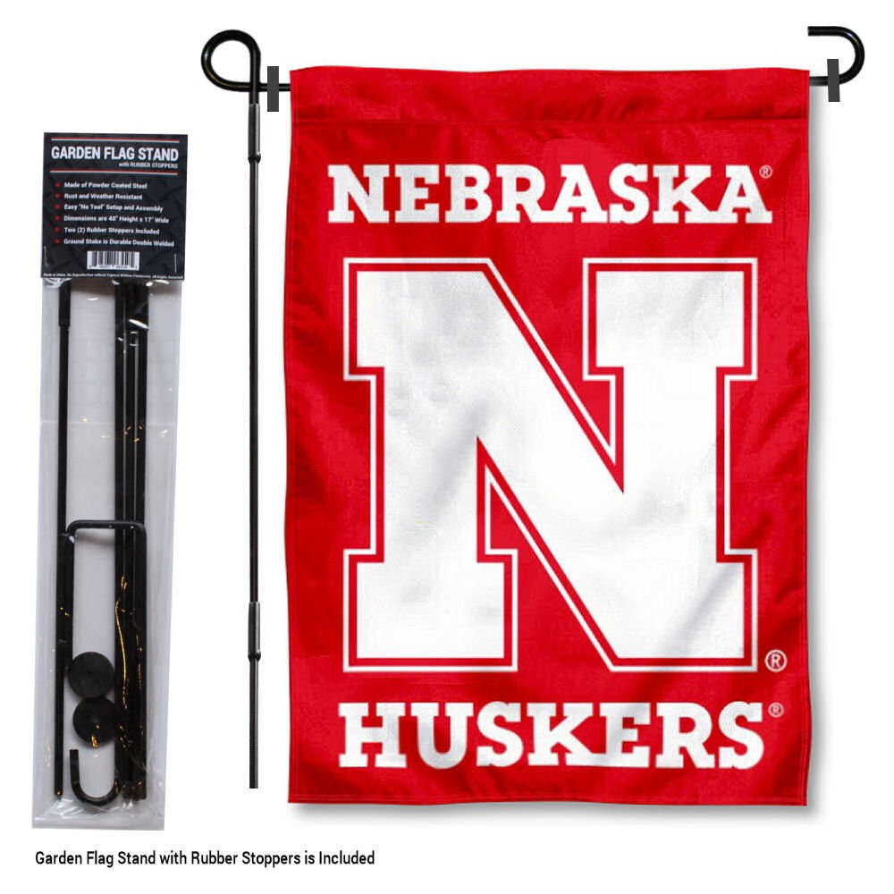 Nebraska Cornhuskers Garden Flag with Stand Holder