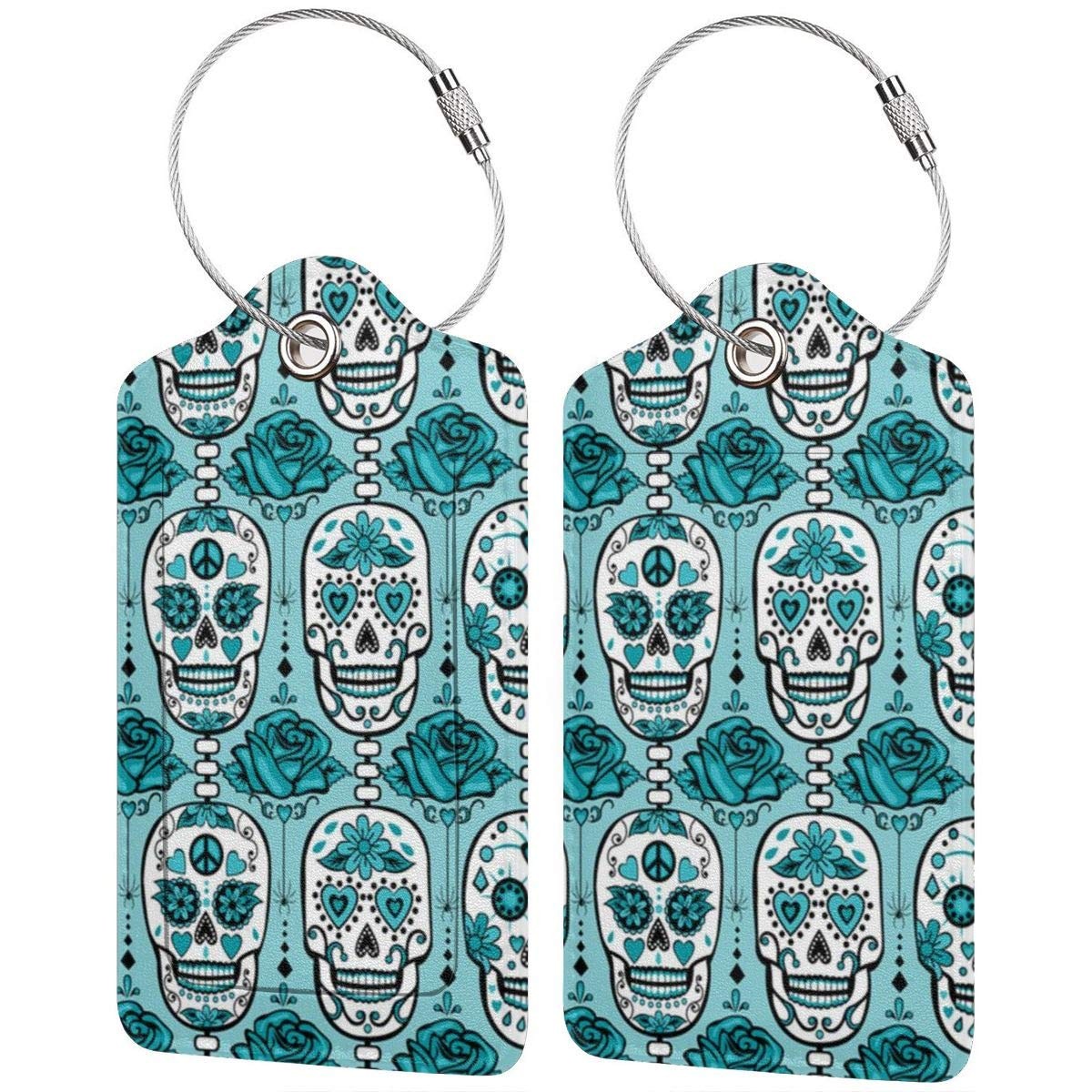 Turquoise Sugar Skulls Luggage Tag Label Travel Bag Label With Privacy Cover Luggage Tag Leather Personalized Suitcase Tag Travel Accessories