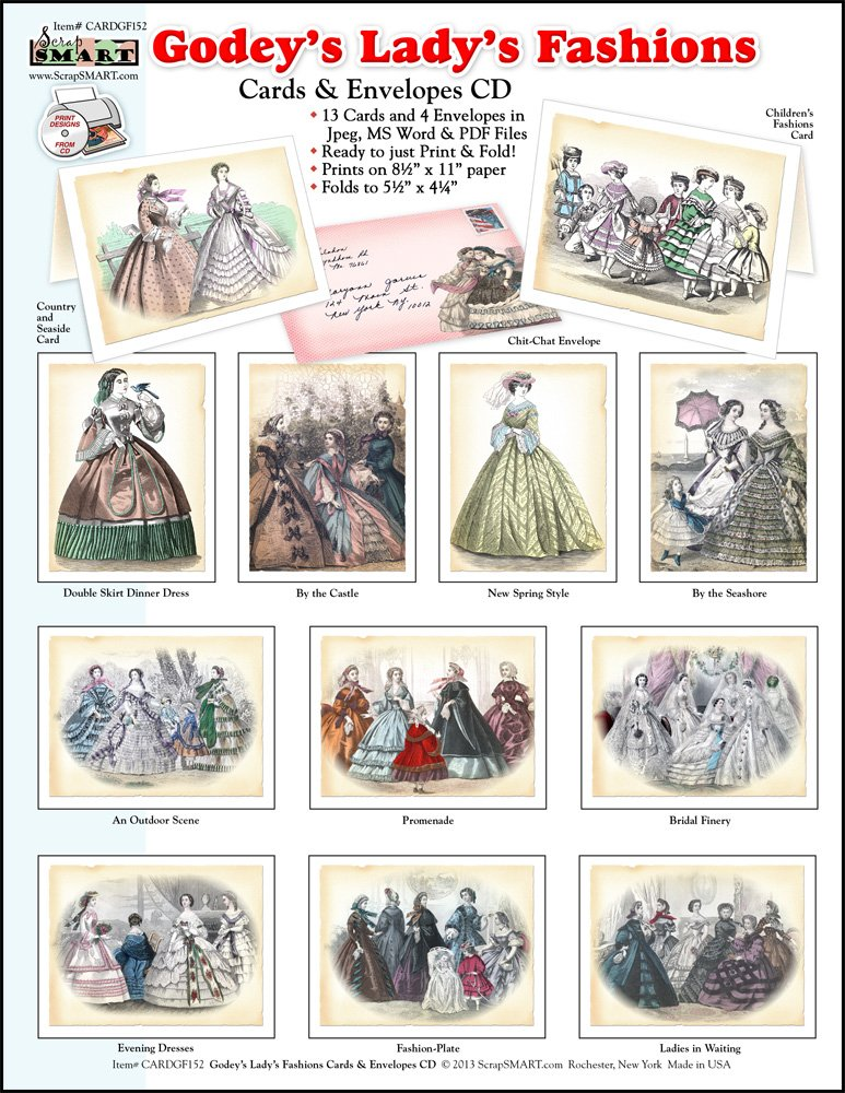 Amazon.com: ScrapSMART - Godeys Ladys Fashions Cards & Envelopes: Software Collection- Microsoft Word, Jpeg & PDF Files for Mac [Download]: Software