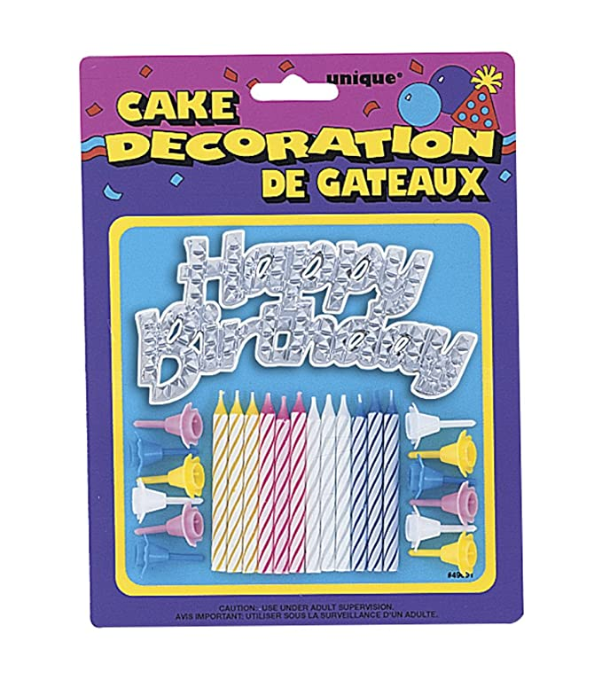 Striped Birthday Candles With Holders Happy Cake Decoration 25pc Unique 49001