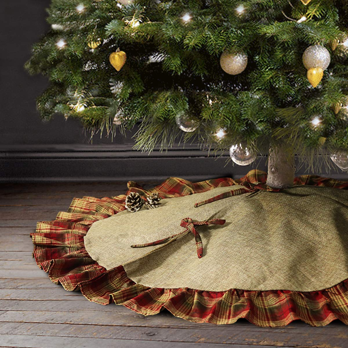 uk availability a3a66 ceac3 Ivenf Christmas Tree Skirt, 48 inches Large Burlap with Plaid Ruffle Trim  Skirt, Rustic Xmas Tree Holiday Decorations