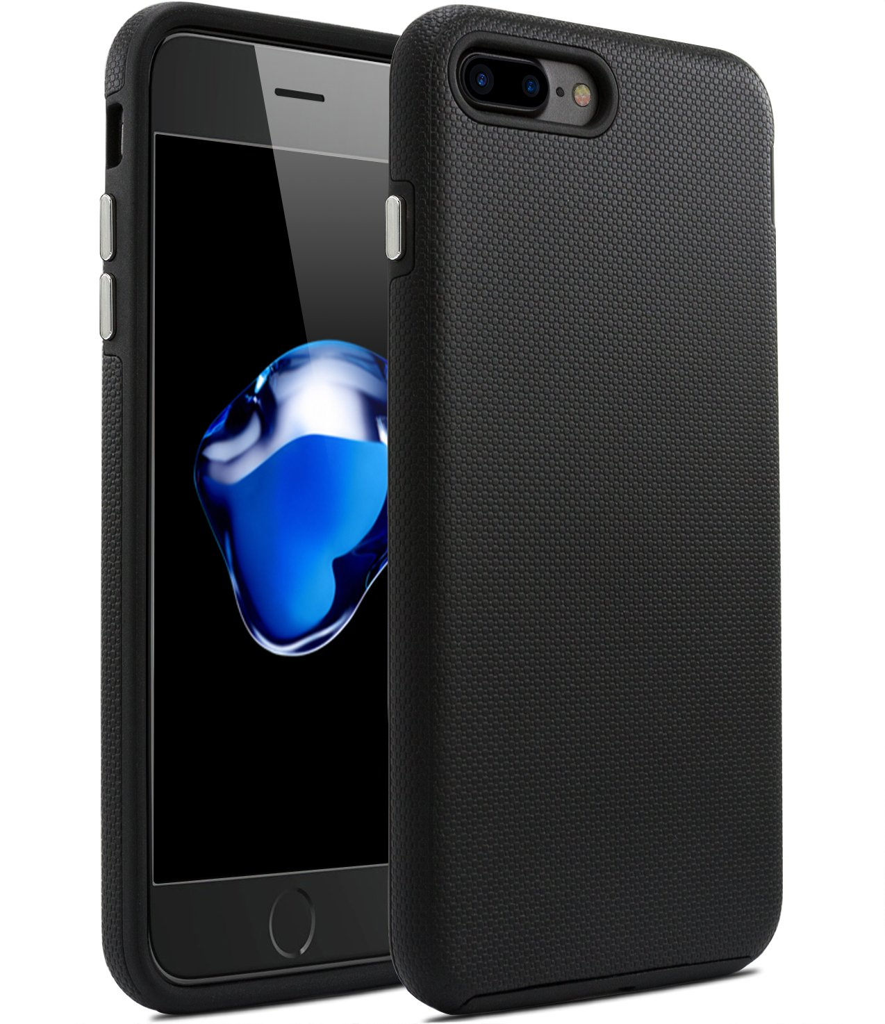 iPhone 8 Plus Case,iPhone 7 Plus Case,Fragrancy Dual Layer Super Sturdy [Shock Proof] with Dustproof Soft Touch Texture [Anti-Slip] Protect Case for iPhone 7 Plus 5.5 inch - matte jet Black
