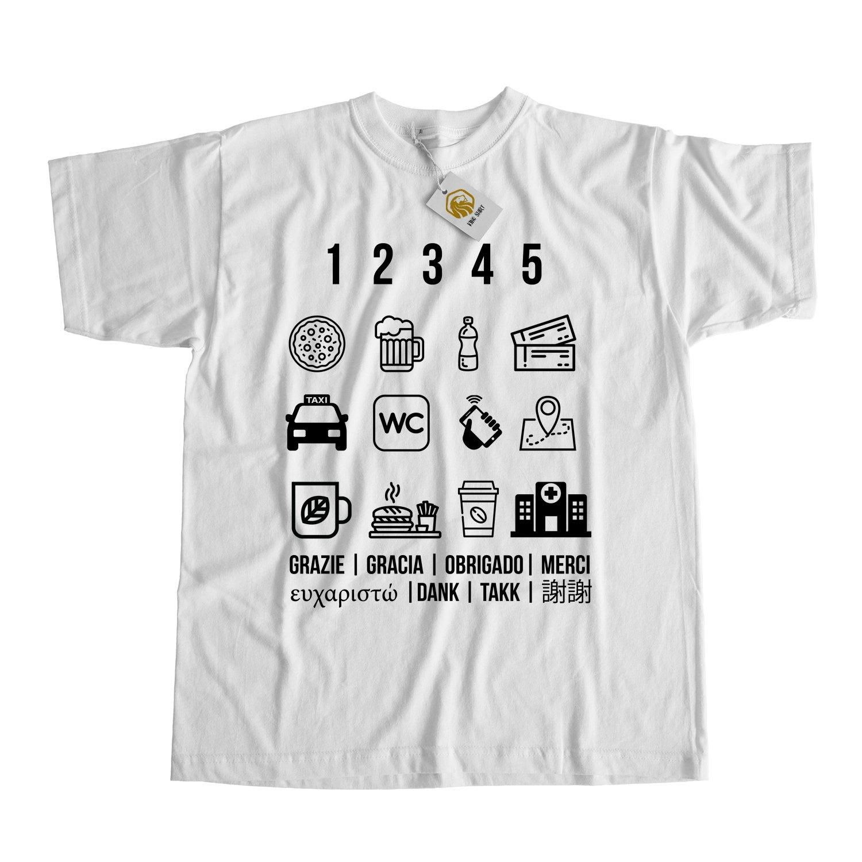 Traveler Shirt Traveler Icons Toursit Outfit Born To Travel Love To Travel  Unisex Tee: Amazon.de: Bekleidung