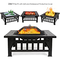 femor Multi Function Fire Pit Outdoor BBQ Ice Pit 3 in 1 Patio Garden Metal Brazier Square Table Heater Stove with Waterproof Cover