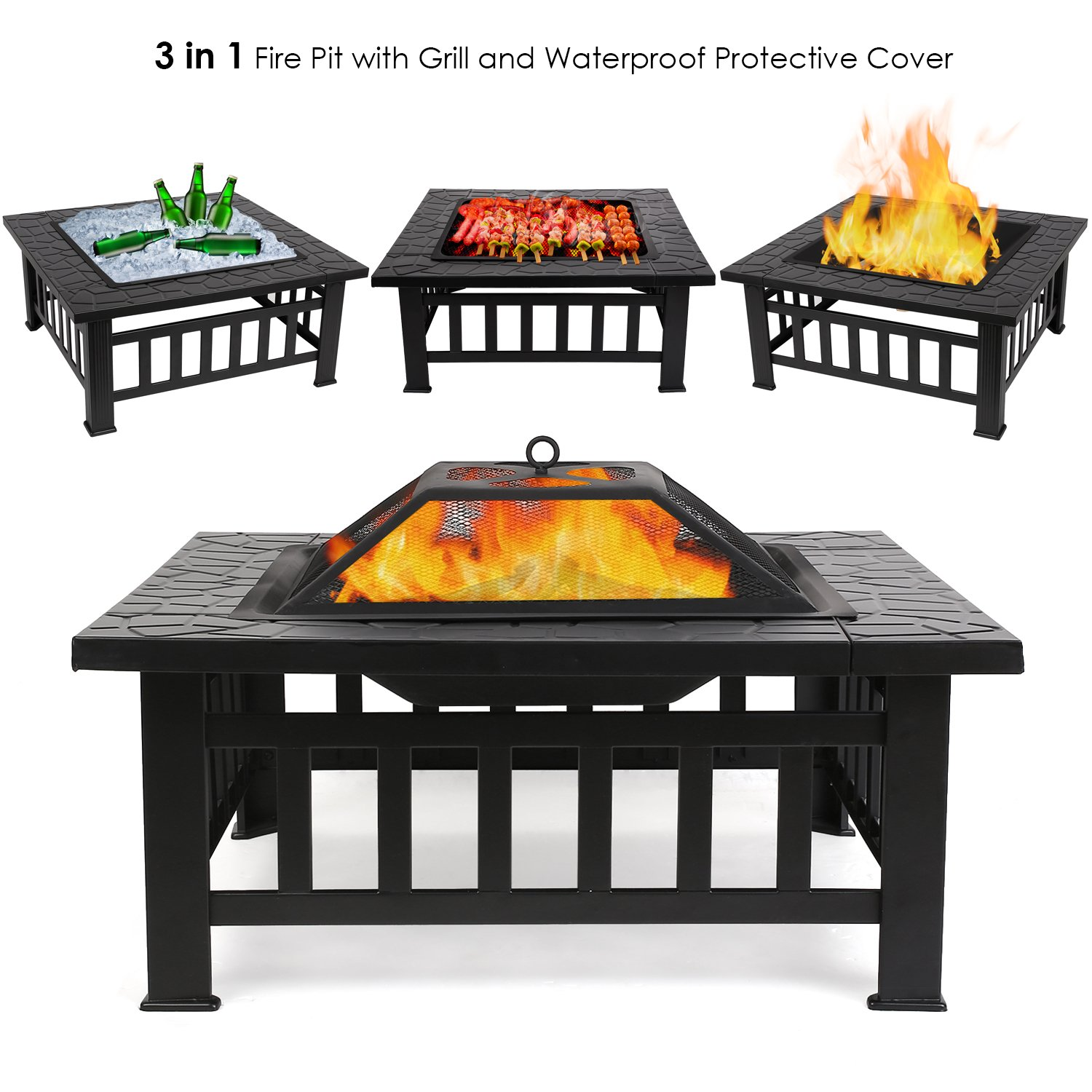 FEMOR Large 3 in 1 Fire Pit with BBQ Grill Shelf,Outdoor Metal Brazier Square Table Firepit Garden Patio Heater/BBQ/Ice Pit with Waterproof Cover (Fire Pit & Grill)