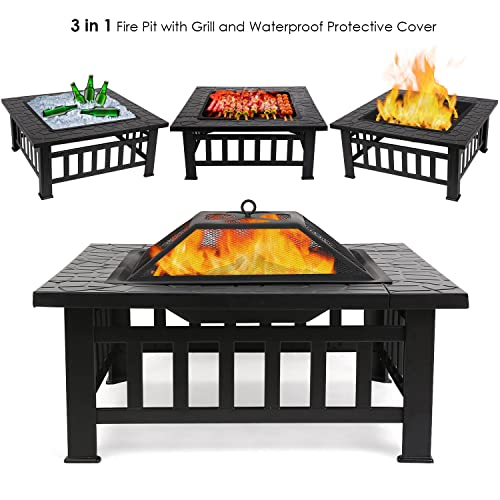 [Upgraded] FEMOR Large 3 in 1 Fire Pit with BBQ Grill Shelf,Outdoor Metal Brazier Square Table Firepit Garden Patio Heater/BBQ/Ice Pit with Waterproof Cover (Fire Pit & Grill)
