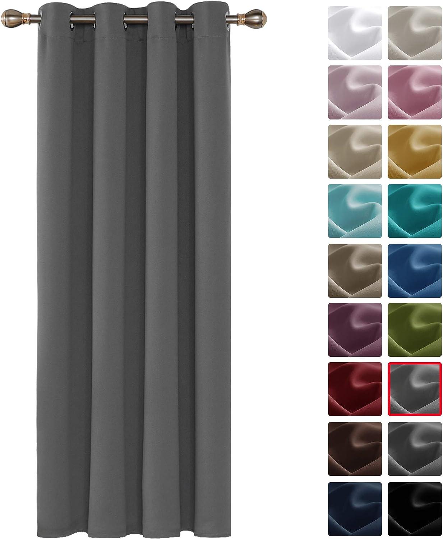Deconovo Cortinas Dormitorio con Aislamiento Térmico Color Liso para Ventana Hogar con Anillos 1 Panel 140 x 240 cm Gris Claro