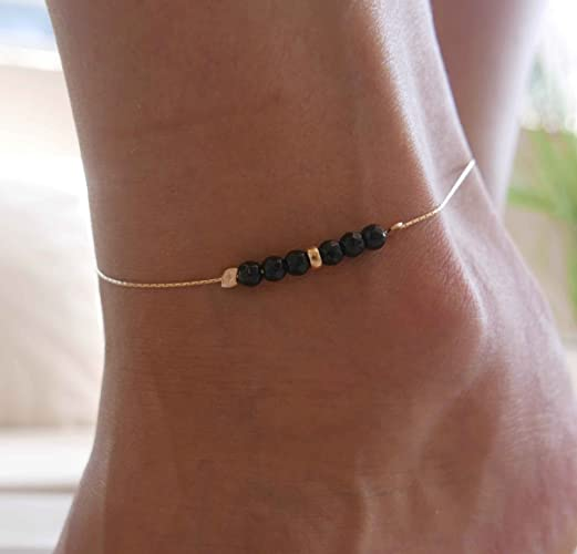 059a336cb073d Handmade Gold Anklet For Women Set With Black Onyx Beads By Galis Jewelry -  Gold Ankle Bracelet For Women - Chain Anklet - Onyx Anklet - Beaded Anklet  ...