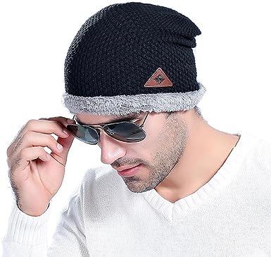 Mens Winter Beanies Knit Hat Fur Warm Baggy Wool Knitted Hat Skullies Bonnet Cap