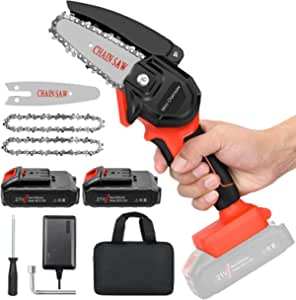 """Mini Cordless Chainsaw Kit, Upgraded 4"""" One-Hand Handheld Electric Portable Chainsaw, 21V Rechargeable 2500mAh Battery Operated, for Tree Trimming and Branch Wood Cutting by New Huing"""
