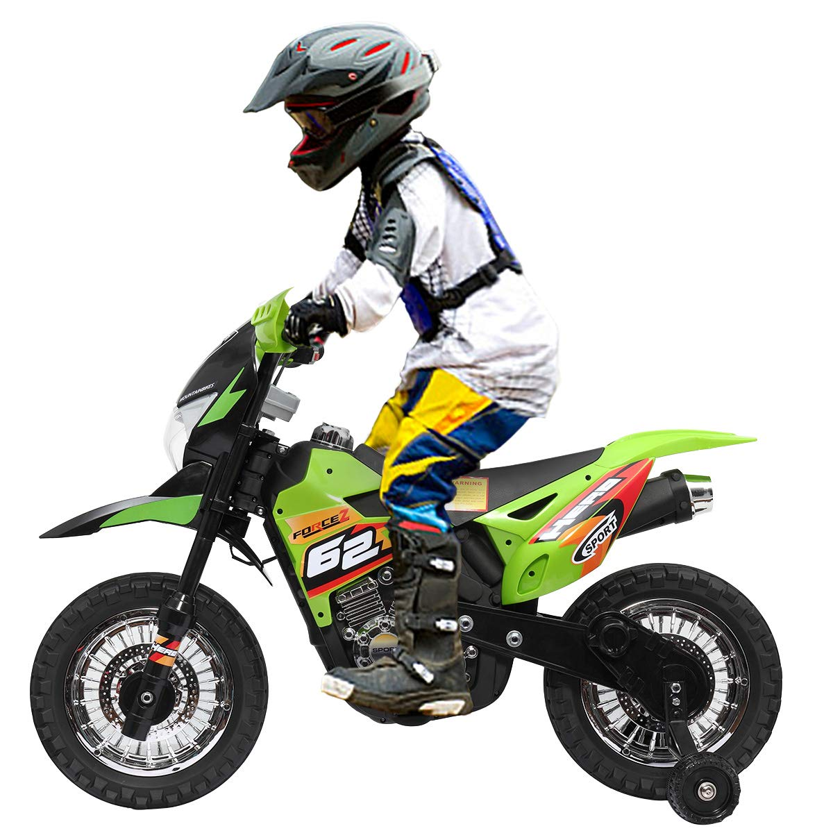 JAXPETY Green 6V Kids Ride On Motorcycle Toy for Kids