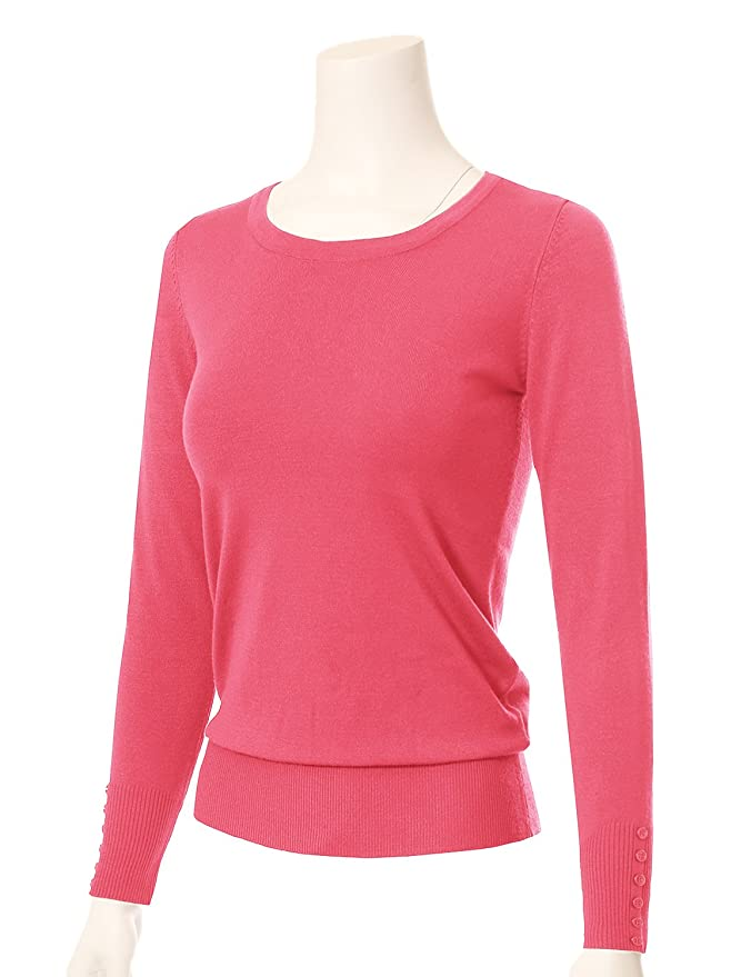 82fb85b151 MAYSIX APPAREL Long Sleeve Crew Neck Knit Pullover Sweater for Women  Rosepink S at Amazon Women s Clothing store