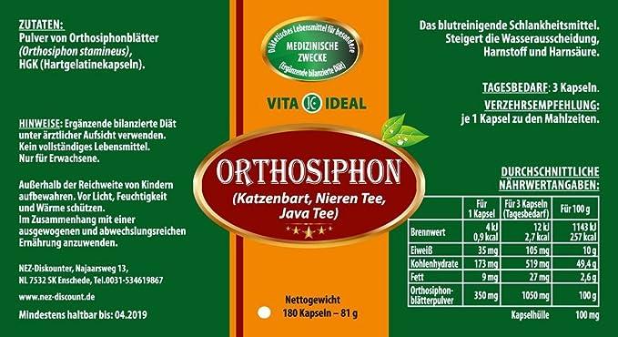 Ortho Sifón 180 Cápsulas (gato Barba, nieren té, té Java) por 350 mg pura Natural polvo, sin aditivos: Amazon.es: Salud y cuidado personal