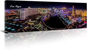 Las Vegas Skyline Wall Art for Living Room Cityscape Canvas Modern Home Decor Panorama Pictures City Building House Decorations Skyscraper Artwork Night View Posters and Prints 12x46 Inch 1 Panel