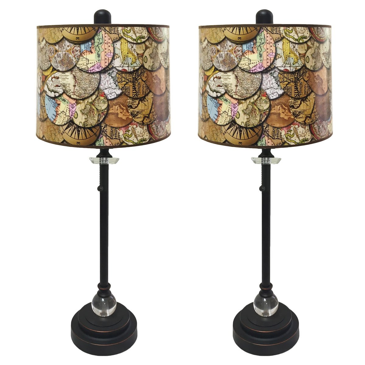 Royal Designs 28'' Crystal and Oil Rub Bronze Buffet Lamp with Vintage Old World Maps Design Hard Back Lamp Shade, Set of 2 by Royal Designs, Inc