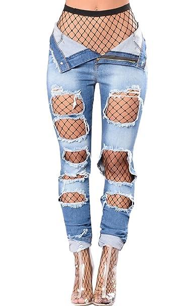 Amazon.com: Imily Bela - Pantalones vaqueros de cintura alta ...