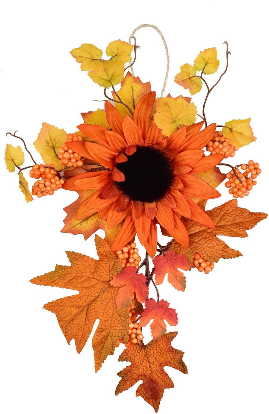 LSKYTOP Fall Harvest Swag - Autumn Decorative Swag with Sunflowers,Maple Leaves and Berries, Wreaths and Floral Decorations Front Door Wall Decor Holiday Ornaments (1)