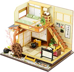 Spilay DIY Miniature Dollhouse Wooden Furniture Kit,Handmade Mini Home Model with LED Light&Music Box ,1:24 Scale 3D Puzzle Creative Doll House Toys for Children Gift(Forest Holiday M34)
