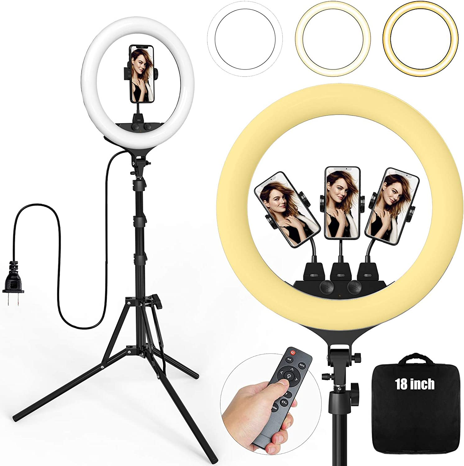 Ring Light 18 Inch 55W LED Ringlight Kit with Tripod Stand with Phone Holder Adjustable Color Temperature Circle MUA Lighting for iPhone Camera, Makeup, YouTube, Video Shooting, Selfie