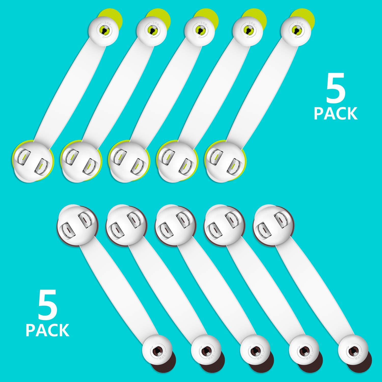 Yosemy nevera 10 paquetes asiento de inodoro horno Cerraduras de seguridad para ni/ños cajones con cierre de seguridad para armarios sin tornillos color verde y marr/ón
