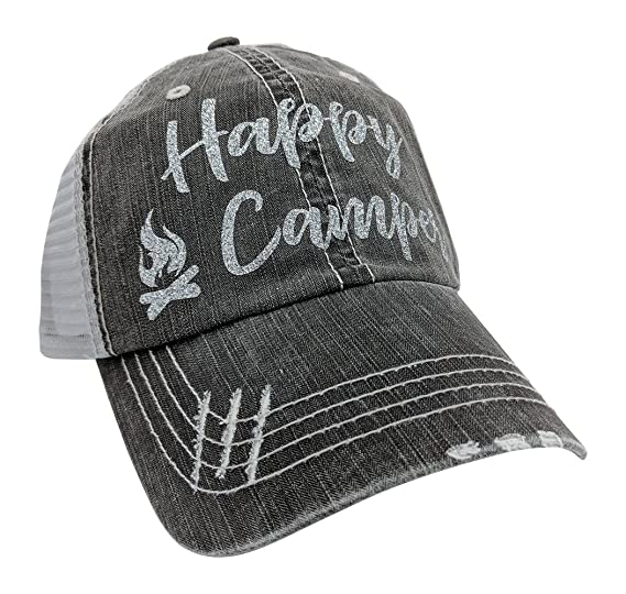 024ff4ed314fc Loaded Lids Women s Happy Camper Distressed Bling Baseball Cap (Grey Silver)