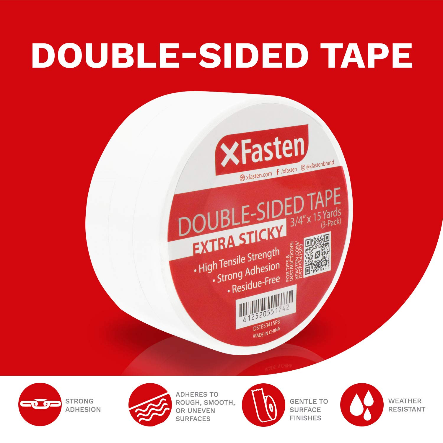 - Extra Sticky for Heavy Duty Bonding White XFasten Extra Strength Double-Sided Tape 15 Yards per Roll Pack of 3 3//4-Inch x 15-Yard