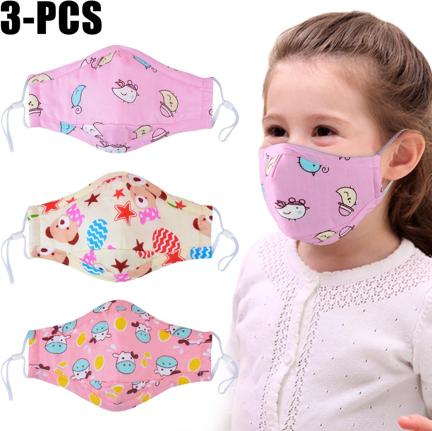 Bangcool 3PCS Máscara de la Boca Mascarilla de algodón con máscara Antipolvo Transpirable de Dibujos Animados para niños
