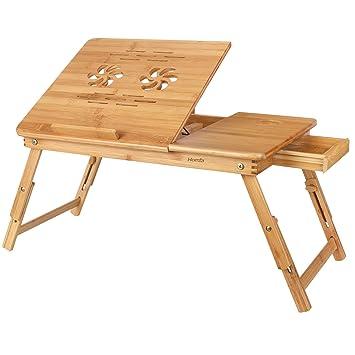 HOMFA Mesa para Ordenador portátil Mesa de cama Bambú Mesa auxiliar con cajón lateral 55x35x(
