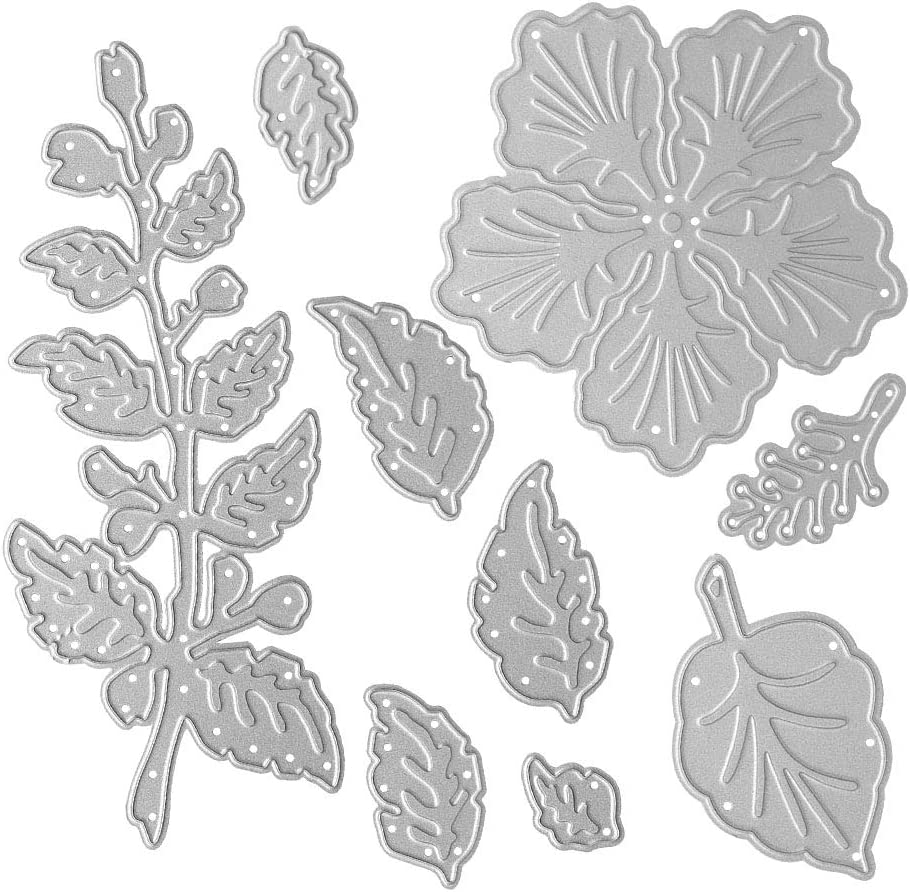 Metal A Five-petaled Flowers Cutting Dies, Six Leaves Die Cuts Embossing Stencils Template Mould for Card Scrapbooking and DIY Craft