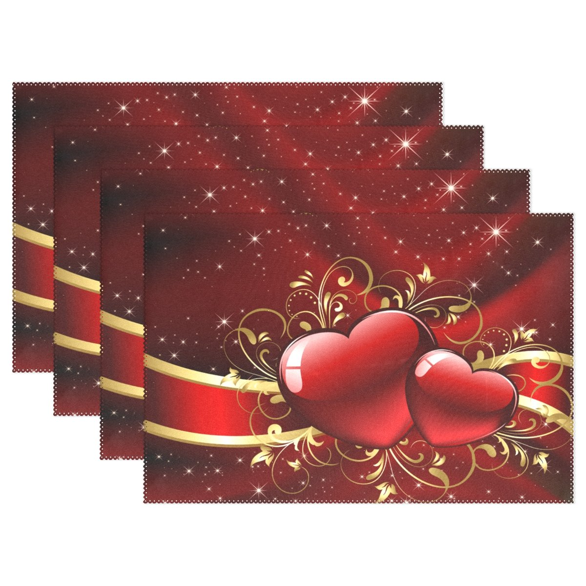 Gorgeous Valentines Day with Red Hearts Heat-Resistant Table Placemats Set of 6 Stain Resistant Table Mats Washable Eat Mat for Parties Everyday & Holidays Use