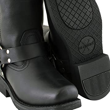 Xelement 2442 Classic Womens Black Full Grain Leather Harness Motorcycle Boots 7.5