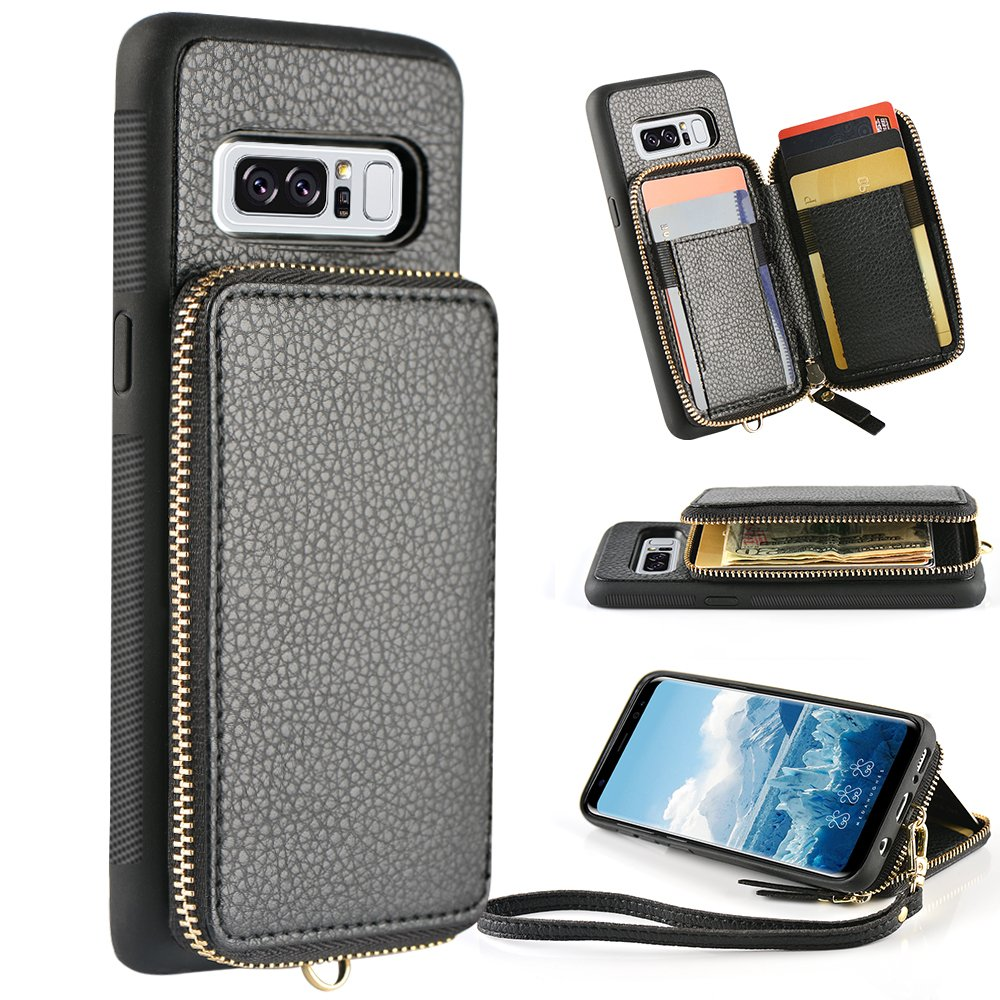 ZVE Samsung Galaxy Note 8 Wallet case, 6.3 inch, Leather Wallet Case with Credit Card Holder Slot Zipper Wallet Pocket Purse Handbag Wrist Strap Protective Cover for Samsung Galaxy Note 8 - Black by ZVE