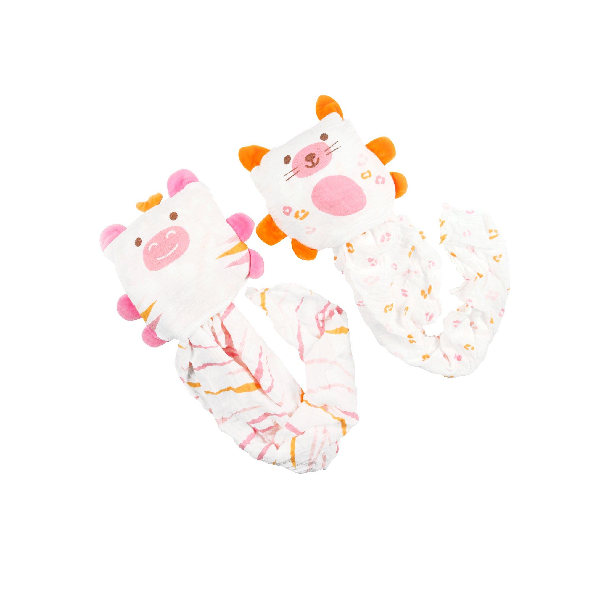 Ubbi 2-in-1 Convertible Baby Pillow and Cotton Blanket, Cheetah/Zebra