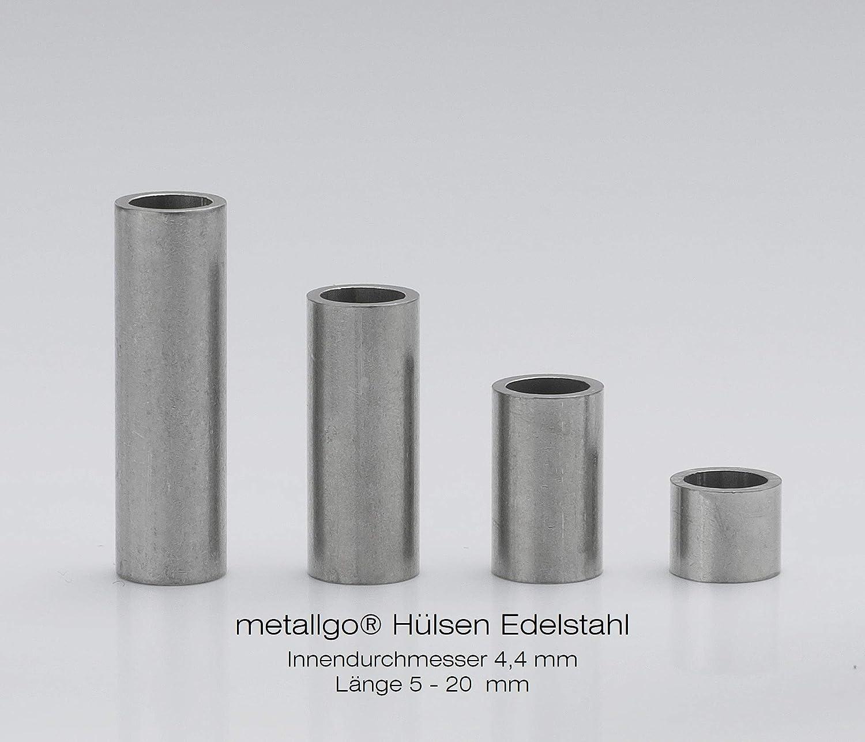 Abstandsbuchsen Distanzbuchsen metallgo/® Edelstahl H/ülsen 10 St/ück L/änge 5 mm | Abstandsh/ülsen Distanzh/ülsen /Ø innen 8,4 mm M8 Abstandshalter Distanzhalter