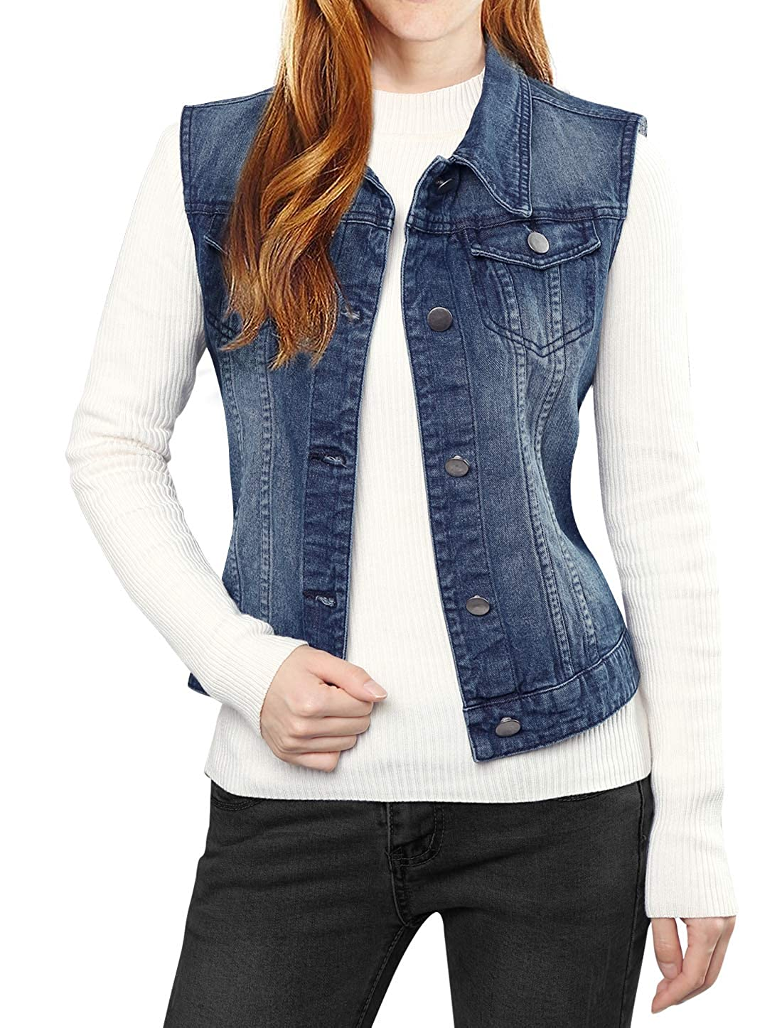 Allegra K Women's Washed Denim Vest Dark Blue M a15120500ux0483