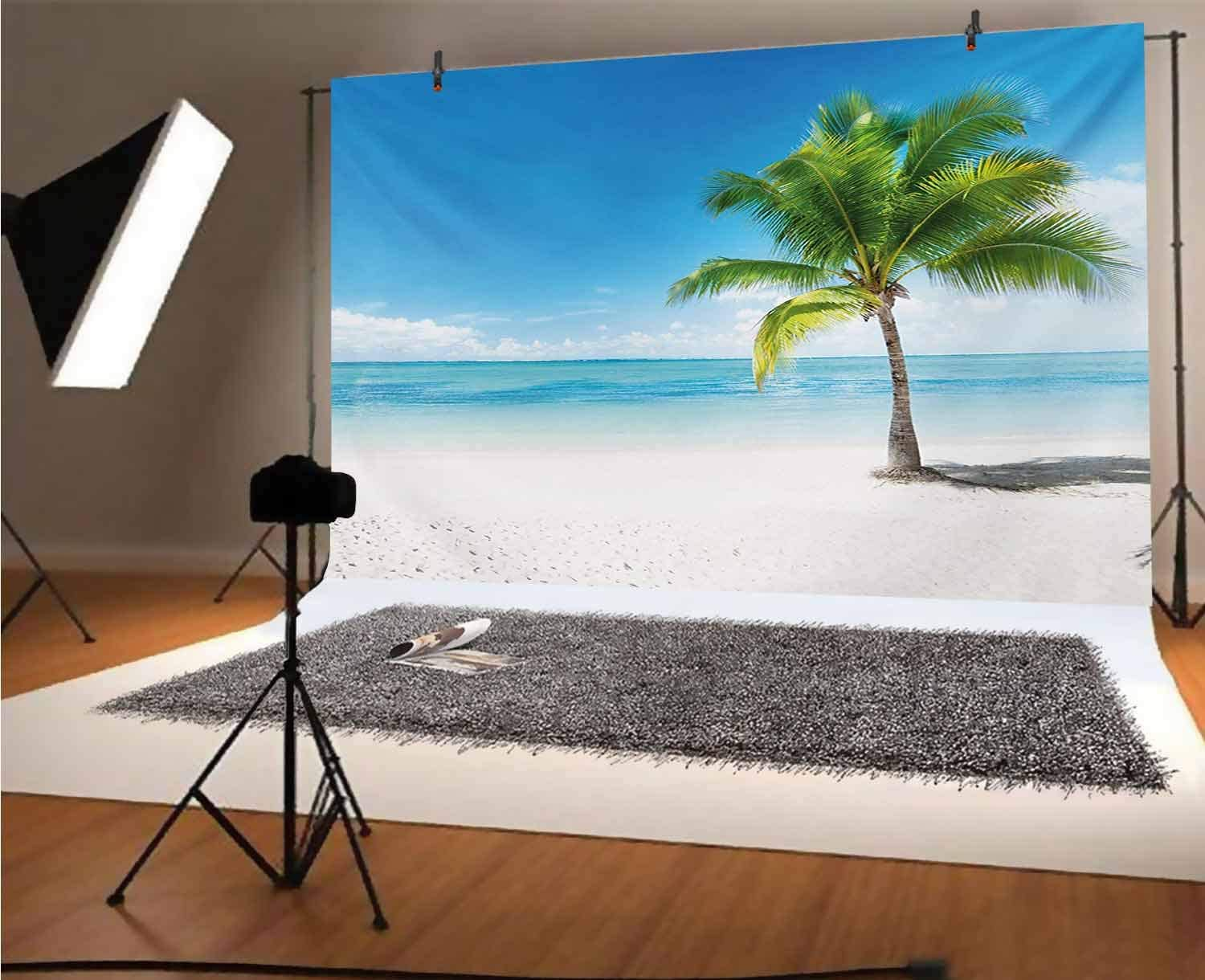 Landscape 10x12 FT Backdrop Photographers,Caribbean Maldives Beach Island Sea Ocean Palm Trees Artwork Print Background for Baby Shower Bridal Wedding Studio Photography Pictures