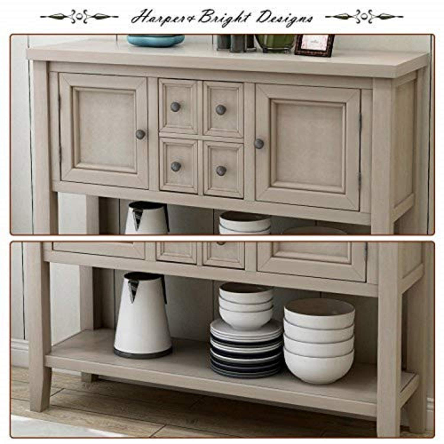 Harper Bright Designs Buffet Table Kitchen Storage Buffet and Sideboard Console Tables with Four Storage Drawers Two Cabinets and Bottom Antique Grey