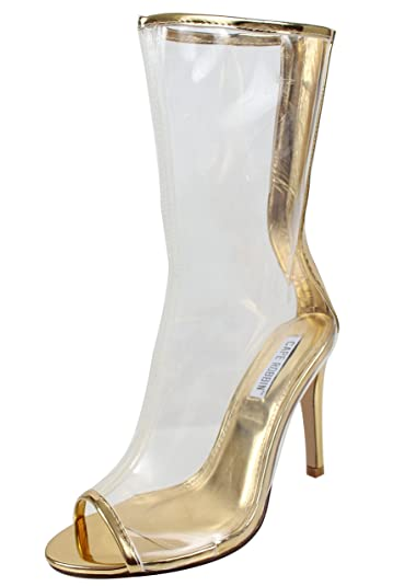 4095410cb CAPE ROBBIN Women's Open Toe Clear Mid Calf Stiletto High Heel Bootie (Gold,  5.5