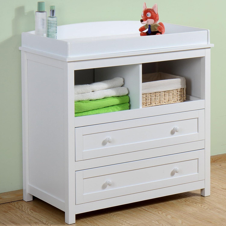 Infantastic – Cambiador para bebés de madera robusta con bordes de seguridad – 2 cajones grandes y 2 casillas abiertas – color blanco