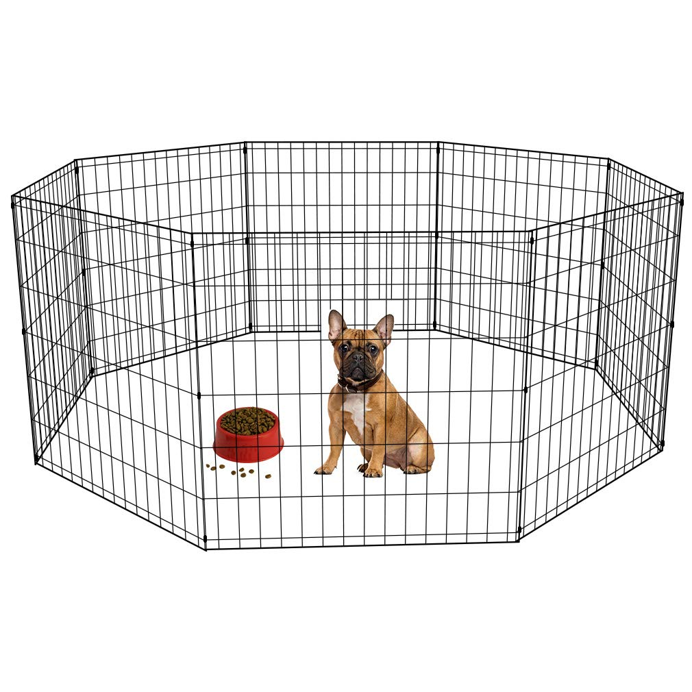 BestPet 24 Tall Foldable Dog Playpen Crate Fence Pet Kennel Play Pen Exercise Cage 8 Panel Black by BestPet