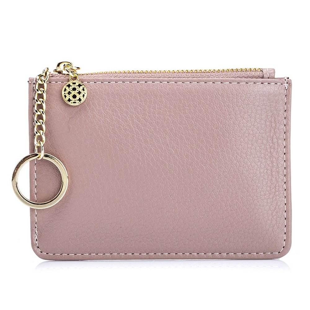 Aladin Leather Coin Purse with Key Chain, Womens Small Zipper Card Holder Wallet (Pink)